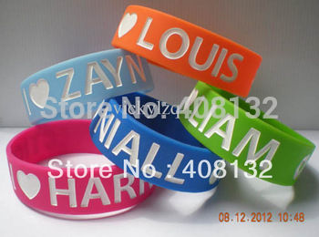 "Wholesale - One direction wristband, I love Niall, Harry, Louis, Liam, Zayn, 1D bracelet, 3/4"" wide, 50pcs/lot"