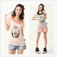 2013 juniors clothing preppy style peter pan collar stripe all-match T-shirt cute short-sleeve shirt