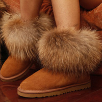 2013 hot-selling normic thermal fox fur snow boots women boots