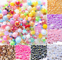 Fashion Popular! 1000pcs Mixed AB Mixed Size from 2-10mm Craft ABS Resin Flatback Half Round Pearls Scrapbooking Crafts Beads