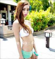 Sexy Clover Shape Crystal Flowers White Bikini Top and Bottom Women Set Swimwear four leaf flower bikini