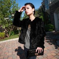 free shipping  black rabbit fur coat short design picao classic women's natural  rabbit  free shipping