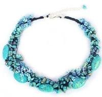 Free ship!!!  Amazing  green turquise chip  fashion necklace flower necklace fashion necklace