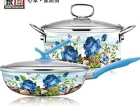 free shipping porcelain enamel Cookware set -mother day gift 4pcs large sizes frypan 32cm stock pot 24cm