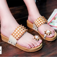 2013 Summer New Fashion Women's Thick Wooden Bottom Antiskid Sandals, Rivet Punk Shoes