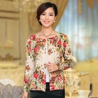 2013 autumn long-sleeve  quinquagenarian women's print long-sleeve sweater outerwear