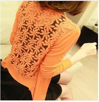 Women Lace Sweet Candy Color Crochet Knit Blouse Sweater Cardigan Free Shipping
