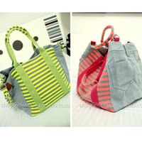 free shipping Vintage jeans 2013 portable women's handbag neon stripe one shoulder big bags candy color canvas bag