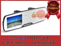 2014 New 2.7 HD 1080P Car Camera DVR Rearview Mirror Car Recorder Auto Video Recording TF Card free shopping