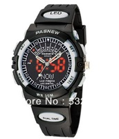 Free Shipping High Quality  PASNEW LED+Pointer Water-proof Dual Time Boys Girls Sport  Wrist Watch