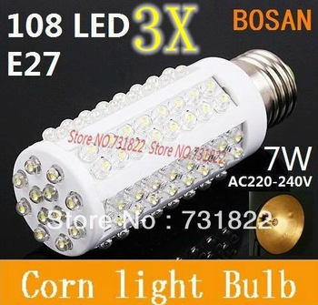 3X Ultra bright LED bulb 7W E27 220V Cold White or Warm White light LED lamp with 108 led 360 degree Spot light Free shipping