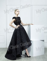 Designer Bateau Neck Cap Short Sleeves See-Through Lace Top With Belt Ankle Length Lace A Line Evening Dresses Gowns 2014