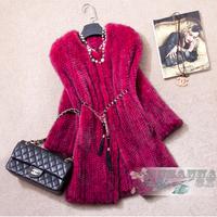 Ems Free Shipping* 100% European Thick Knitted Mink Fur  Coat / Mink Coat Natural/ Mink Fur Coats Women/ Mink Jacket* NO.SU-1356