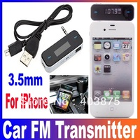 Wireless 3.5mm Car FM Transmitter For iPod iPad iPhone 4 4S 5 Galaxy S2 S3 HTC Free Shipping