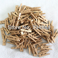 Free Shipping 500 pcs Gold Color Mini Wooden Clothes Peg | Wood Clip | Tiny Colothespins Prefect Wedding Party Decoration