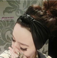 Fashion punk vintage black faux leather elastic headband  hair accessory spring and summer  bandanas