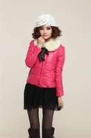 New Arrival winter short design slim Down & Parkas cotton-padded jacket with hood women winter outerwear