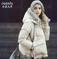 women's with a hood scarf down coat Autumn and winter thin Women down jackets women outerwear
