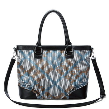 Fashion magic cube color block knitted series of dual-use package handbag PU women's handbag