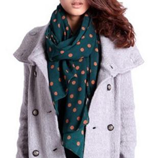 Dot silk scarf chiffon air conditioning cape beach towel polka dot scarf(China (Mainland))