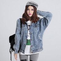 Vintage HARAJUKU bf loose wearing white water wash loose Large denim outerwear lovers design autumn jacket  jackets