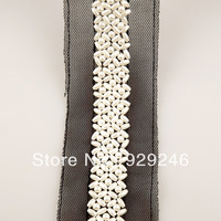 2cm pearl beaded lace hand-made with black mesh DIY dress Tshirt  waist collar neck decoration garment trims accessry