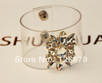 New Design Charming Crystal Stone Glass Flower Bracelet Bangle for Women