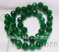 8SE09995 10mm Green Jade Faceted Round Beads