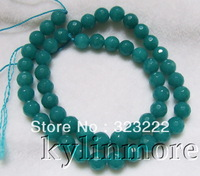 8SE10001 8mm Blue Jade Faceted Round Beads