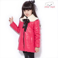 Bear children's clothing child wadded jacket outerwear female child cotton-padded jacket 2013 child leather clothing