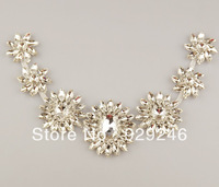 free shipping 6*31.5cm windmill-shape clear marquise glass rhinestone applique DIY wedding evening dress waist collar decoration