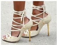 Ankle strap open toe leather sandal bootie Designer pumps celebrity dress shoe 2013