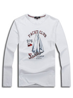 2013 European and American cotton casual style yacht long sleeve Free shipping Brand t shirt for men tshirt