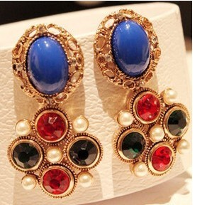ES302  Hot New Style 2014 Matching Color of Vintage Big Flower studs Earrings Jewelry Accessories Free Shipping