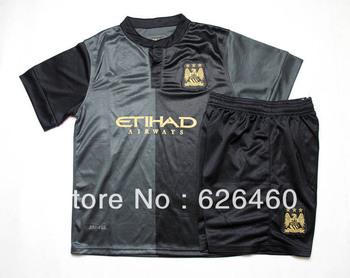 2013-14 Manchester City away black kids soccer football jerseys and shorts, children's soccer uniforms, Kun Aguero 16