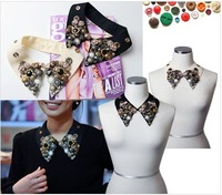 Free Shipping 2013 Navy Style False Collar Button Badge Cape Decoration Necklace Collar Female Accessories