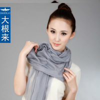 Dagenlai roots 2013 spring and autumn Light gray long scarf hydrotropic women's cashmere silk scarf