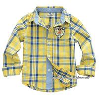 Children's clothing autumn 2013 male child baby 100% long-sleeve cotton shirt plaid shirt child boys