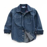 Children's clothing autumn fashion brief 2013 male child baby denim shirt dual child shirt top