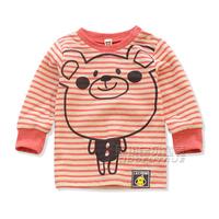 Children's clothing autumn 2013 cartoon stripe baby t-shirt male female child long-sleeve T-shirt child clothes