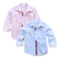Children's clothing autumn 2013 male big boy child long-sleeve shirt baby vertical stripe 100% child cotton casual shirt
