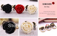 Wholesale Europe and the United States Ring Jewelry retro rose female mixed colour 12pcs/lot R0026