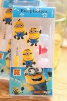 Free shipping by EMS 100pcs/lot Minion headset Despicable Me cartoon minion earphone 3.5mm In-Ear Cool headphone For Gift