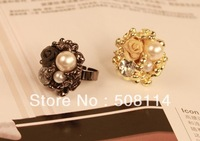 Wholesale The palace retro rose pearl inlay ring ring ring opening of female 12pcs/lot R0032