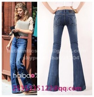 Autumn lengthen large boot cut   logo retro hole strressed jeans slim skinny pants