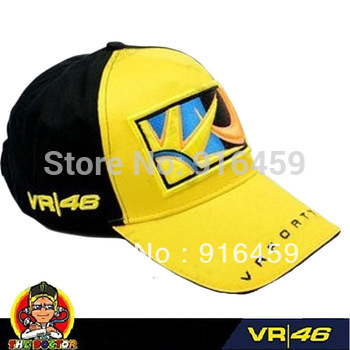 Free shiping 2013 new style rossi VR46 embroidery moon sun cap yellow black F1 racing car cap motorcycleVR46 sport baseball cap