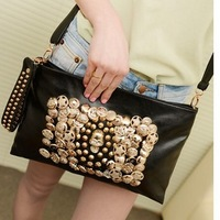 2013 female rivet bag skull bag rhinestone bag messenger bag shoulder bag handbag women's