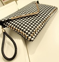 Day clutch 2013 female handbag black and white plaid bag knitted plaid bag messenger bag
