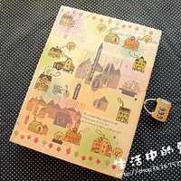 Korea stationery cowhide tray tsmip diary with lock small fresh password notebook color page notepad