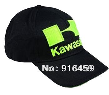 Free Shipping 2013 wholesale Snapback kawasaki black Classic Baseball F1 Car Motorcycle racing cotton sports hat cap